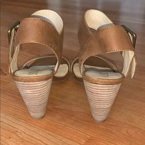 Sole Society Shoes - Sole Society Camel Missy Heeled Sandal 6